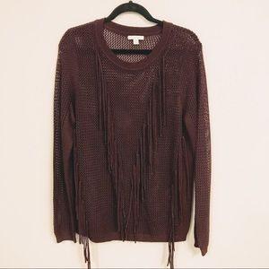 Fits L/12 🐙 NY & Co — Maroon Fringe Sweater